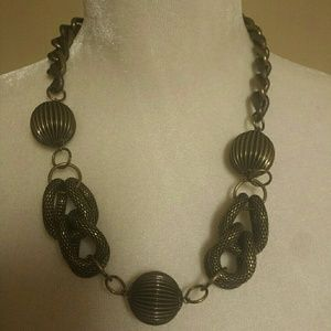 Antique Bronze Bulky Necklace